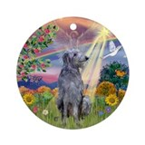 Cloud Angel & Deerhound Ornament (Round)