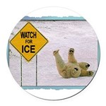 bearonice.png Round Car Magnet