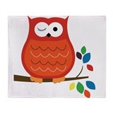 Bold Orange Owl with leaves Throw Blanket