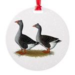 Tufted Toulouse Geese Round Ornament