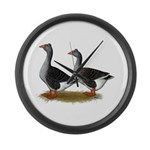 Tufted Toulouse Geese Large Wall Clock