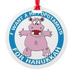 Hippopotamus For Hanukkah Round Ornament