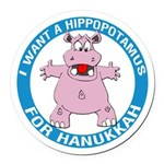 Hippopotamus For Hanukkah Round Car Magnet