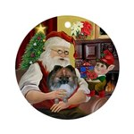 Santa's Parti Pom (1) Ornament (Round)