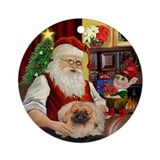 Santa's Pekingese Ornament (Round)