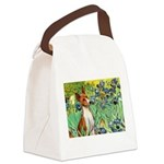 Basenji in Irises Canvas Lunch Bag