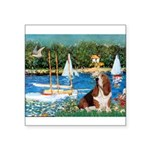 Sailboats & Basset Square Sticker 3