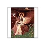 Seated Angel & Basset Square Sticker 3