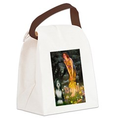 Fairies / Bearded Collie Canvas Lunch Bag