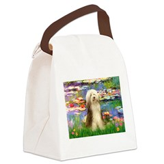 Lilies / Bearded Collie Canvas Lunch Bag