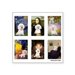 FamousArt-BichonFrise-CLEAR.png Square Sticker 3
