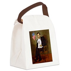 Lincoln & his Bichon Canvas Lunch Bag