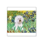 Irises and Bichon Square Sticker 3
