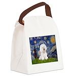 Starry Night Bichon Canvas Lunch Bag