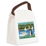 Sailboats & Border Collie Canvas Lunch Bag