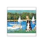 Sailboats & Border Collie Square Sticker 3