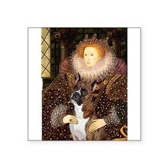 """The Queen & her Boxer Square Sticker 3"""" x 3"""""""