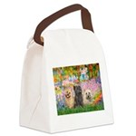 Garden/3 Cairn Terriers Canvas Lunch Bag