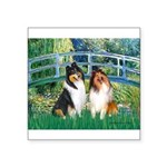 Bridge / Two Collies Square Sticker 3