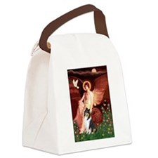 Seated Angel / Collie (tri) Canvas Lunch Bag
