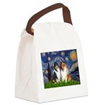 Starry Night / Collie pair Canvas Lunch Bag