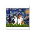 Starry Night / Collie pair Square Sticker 3