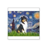 Starry Night / Collie (tri) Square Sticker 3