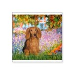 Garden -Dachshund (LH-Sable) Square Sticker 3