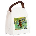 Irises & Dachshund Canvas Lunch Bag