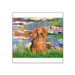 Lilies (2) & Doxie (LH-Sable) Square Sticker 3