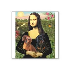 "Mona Lisa's Dachshunds Square Sticker 3"" x 3"""
