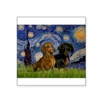 Starry Night Doxie Pair Square Sticker 3