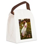 Windflowers / Dachshund Canvas Lunch Bag