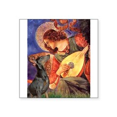 "Mandolin Angel & Dobie Square Sticker 3"" x 3"""