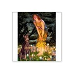 Fairies & Red Doberman Square Sticker 3