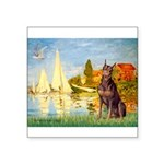 Regatta / Red Doberman Square Sticker 3