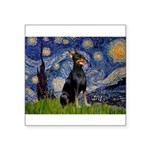 Starry Night Doberman Square Sticker 3