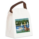 Sailboats /English Bulldog Canvas Lunch Bag