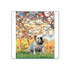"Spring/ English Bulldog (#9) Square Sticker 3"" x 3"