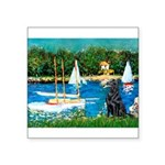 Sailboats / Flat Coated Retri Square Sticker 3