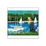 Sailboats / Flat Coated Retri Square Sticker 3