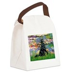Lilies / Flat Coated Retrieve Canvas Lunch Bag