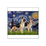 Starry / 2 German Shepherds Square Sticker 3