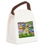 Lilies & Golden Canvas Lunch Bag