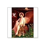 Angel & Golden Retrieve Square Sticker 3