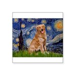 Starry Night Golden Square Sticker 3