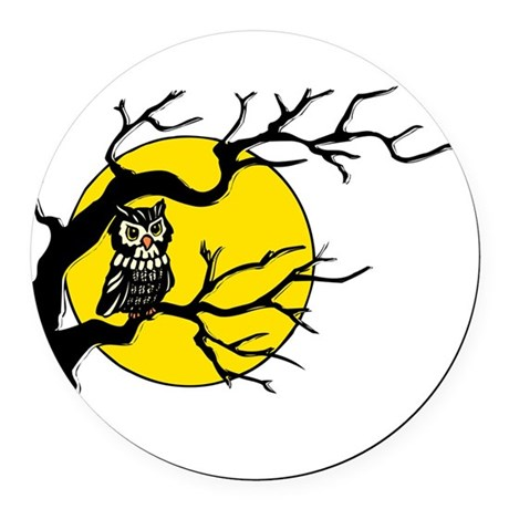Owlmoon3.png Round Car Magnet