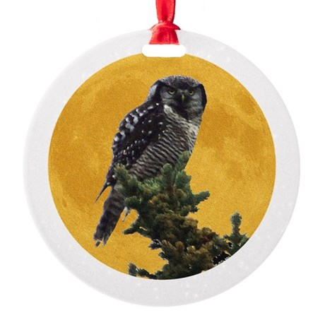 owlmoon.png Round Ornament