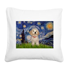 Starry / Havanese Square Canvas Pillow