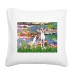 Lilies2/Italian Greyhound Square Canvas Pillow